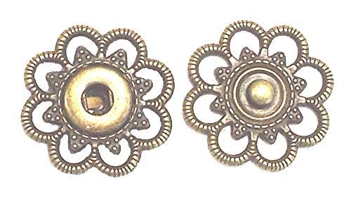 Großhandel für Schneiderbedarf 5 Druckknöpfe zum Annähen Metall altgold 25mm nickelfrei
