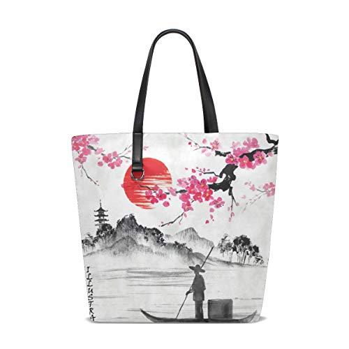 Bkeey Bolso grande para mujer de mano de Japón Paisaje Vintage Acuarela Bolso de la compra con cremallera