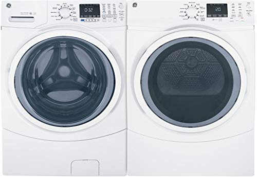 GE White Front Load Laundry Pair with GFW450SSMWW 27'' Washer and GFD45ESSMWW 27'' Electric Dryer