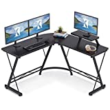 Casaottima L Shaped Gaming Desk, 51' Home Office Desk with Round Corner Computer Desk with Large Monitor Stand Desk Workstation,Black