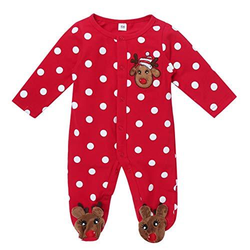 IEFIEL Ropa de Dormir para Bebé Recien Nacido Pijama Lunares de Fiesta Navidad Body de Una Pieza Pelele Romper Mameluco Monos de Algodón Ropa Infantil Rojo A 0-3 Meses