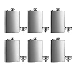 8 oz Stainless Steel Flask and Funnel Set of 6 You will receive 6 pieces Stainless Steel Flask and 6 pieces Funnel Laser Welded for a Leak Proof Seal, Lifetime Warranty Great value, high quality flask-Very good quality flask - nice weight, not too he...