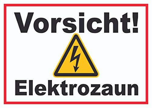 HB-Druck Vorsicht Elektrozaun Weidezaun Schild A4 (210x297mm)