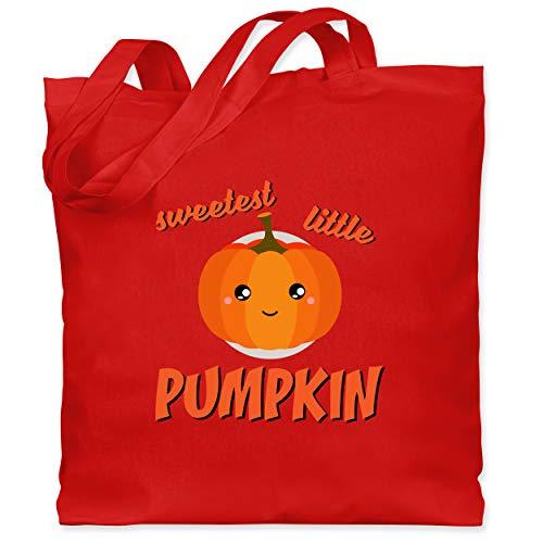 Shirtracer Halloween Kind - Sweetest little Pumpkin Halloween - Unisize - Rot - XT600_Jutebeutel_lang - WM101 - Stoffbeutel aus Baumwolle Jutebeutel lange Henkel