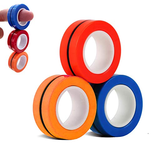 Miroksh Magnetic Rings Fidget Toys Fingertip Decompression Magic Hand Spinner Gadget Rings Small Funny Novelty for Adult, Kids , ADHD, Anxiety Autism Children Stress Relief Desk Toy