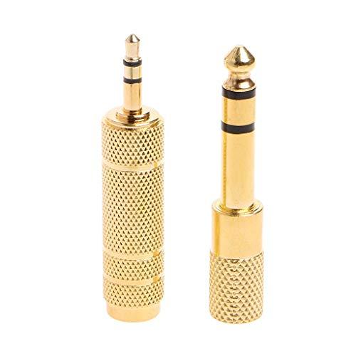 JOYKK 2 stuks 6,5 mm 1/4-bus op 3,5 mm 1/8-stekker stereo-audio-microfoonstekker adapteraansluiting - goud
