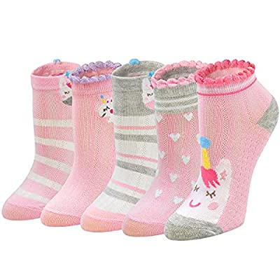 PUTUO Calcetines Niña Divertidos Algodón: Calcetines Cortos Niñas Calcetines con Motivo Unicornio para Verano, 8-11 años