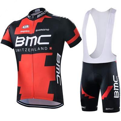 WOLFIRE WF Tuta da Ciclismo per Uomini di Squadra. Culotte e Maglia. con Gel Pad 5D. per MTB, Spinning, Road Bike (BMC Negro, M)