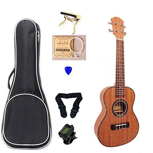 KEPOHK Ukelele de caoba de 23 pulgadas y 4 cuerdas, juegos de palisandro con sintonizador de bolsa, Mini instrumento musical de guitarra Hawaii de 23 pulgadas UK2305C