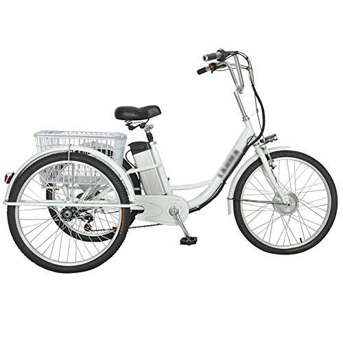 Triciclo per adulti bicicletta elettrica a 3 ruote bici servoassistita con carrello posteriore cestino cestino cibo gite shopping 48V12ah scooter elettrico pedale 24 pollici singolo motore 250w