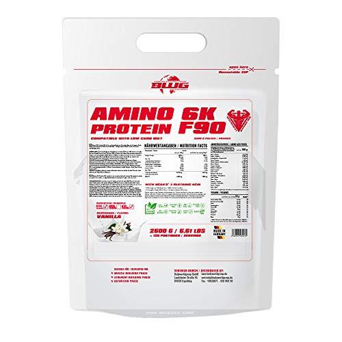 BWG Amino 6K Protein Shake, 6 hochwertige Eiweißquellen mit BCAA`S und Glutamin für Muskelaufbauphase, Sport, Fitness, Vanille, 1er Pack (1 x 2,5 kg)
