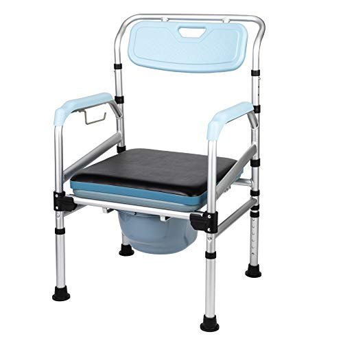 CO-Z Portable Folding Chair w Built-in Toilet   Comfortable Bedside Commode w Removable Seat Pad for People with Disabilities The Elderly & Others up to 450lb   Adjustable Height Folding Stool, Blue