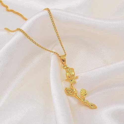 Collar para hombres, mujeres, collares con colgante de flor rosa para mujeres, joyería con amuleto de madre, regalos de boda africanos, regalos de cumpleaños de color dorado árabe, collar con colgante