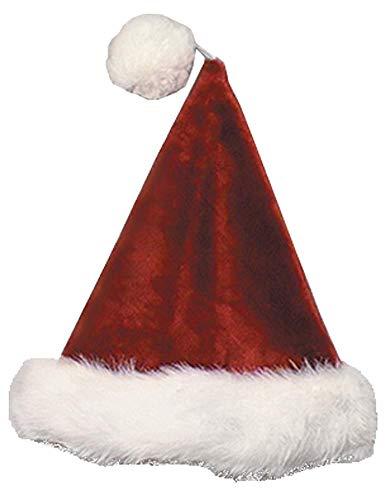 Velvet Plush Santa Claus Hat (Burgundy) with White Long-Hair Band