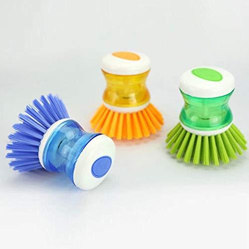 Cepillo de limpieza Color aleatorio Jabón Líquido Presión Cepillo de Lavado Olla Plato Tazón Cepillos de Limpieza Lavadora de Mano Herramientas de Cocina Creativa Fuerte Detergencia