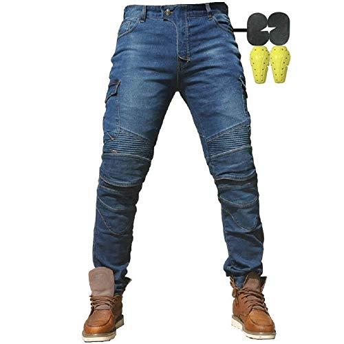 """CBBI-WCCI Hombre Motocicleta Pantalones Moto Jeans con Protección Motorcycle Biker Pants (Azul, M=33"""" (85cm Waist))"""