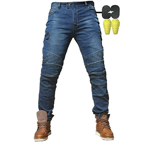 CBBI-WCCI Uomo Moto Biker Jeans Rinforzato Protezione Pantaloni Linning Includono Armature Motorcycle Pants (Blu, 34W / 32L)