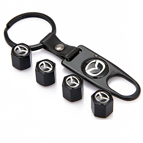 Mazda Schwarz Legierung Auto Rad Reifen Ventil Staubkappen deckt Schlüssel Schlüsselanhänger–Set von 4