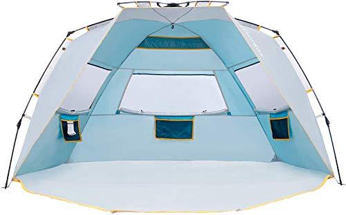 WolfWise Schnellaufbau 4-5 Personen Strandmuschel, UPF 50+ UV Schutz Familien Baby Strandzelt Sonnenschirm, Tragbar Blau
