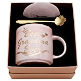 Luspan Mothers Day Gifts for Grandma - Best Grandma Ever Mug - Pink Marble Ceramic Coffee Mug 11.5oz and Lid