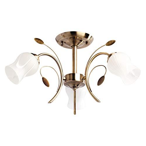MW-Light 256018103 Deckenleuchte Deckenleuchte Florentiner Antike Bronze Metall Weiße Glasschirme 3 Flammig E14 180W