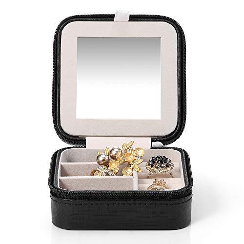 Vlando Kleine Faux Leder Schmuckkästen Reisen Schmuck Box Organizer Display Aufbewahrungsbox Fall für Ringe Ohrringe Halskette mit Spiegel (Schwarz)