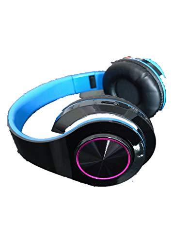 Auriculares Bluetooth Montados En La Cabeza 5.0 Colorido Juego De Cartas Luminoso Música Deportes Teléfono Móvil Computadora Universal Azul Negro