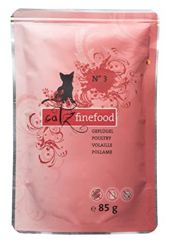catz finefood N° 3 gevogelte fijne kost kattenvoer nat en verfijnd met paardenbessen & paardenbloemen, 1 x zak van 85 g
