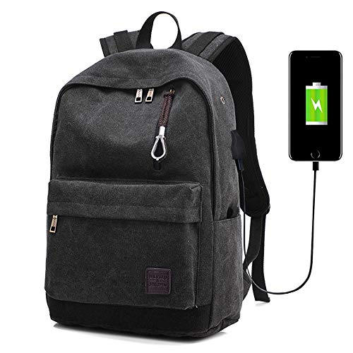 TRPYA Casual Backpack, Retro Canvas Bag 15.6-inch Anti-theft Laptop Backpack with USB Charging Port (Color : Black)
