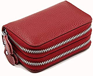 Women Wallets Genuine Leather Double Zipper Card Wallet 586-39 Small Purse for Female Wallet Women Carteira Feminina Card Holder