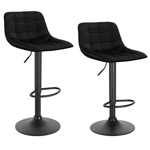 WOLTU BH273sz-2 2er-Set Barhocker Küchenstuhl Barstuhl mit Rückenlehne und Einstellgriff, höhenverstellbar & 360° drehbar, Tresenhocker Bar Hocker aus hochwertigem Samt und Metall, Schwarz