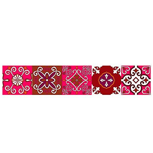 Pegatinas para azulejos rojas, impermeables, autoadhesivas, retro, para decoración de muebles de cocina, baño, 10 cm x 50 cm x 1 unidad