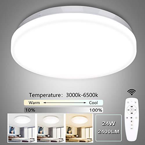 LED Deckenleuchte Dimmbar, Ouyulong LED Deckenleuchte mit Fernbedinung, 24W, 3000-6500K, 2400LM, Lichtfarbe und Helligkeit Einstellbar, Lampe für Wohnzimmer, Schlafzimmer, Kinderzimmer, Küche