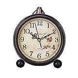Garneck Sveglia Stile Vintage Silenzioso Antico Silenzioso Orologio Antiscivolo Classico Orologio retrò Sveglia da Tavolo (Senza Batteria)