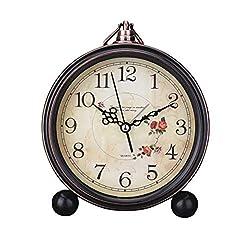 Vintage Style Alarm Clock Silent Antique Retro Table Clock Decorative Quiet Non-Ticking Clock Classic Retro Clock Desk Alarm Clock(Without Battery)