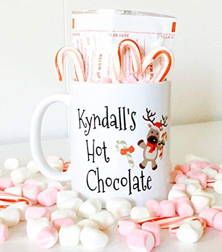 Personalized Hot Chocolate Mug with Reindeer for Kids, Kids Hot Chocolate Mugs | Christmas Gifts for Kids
