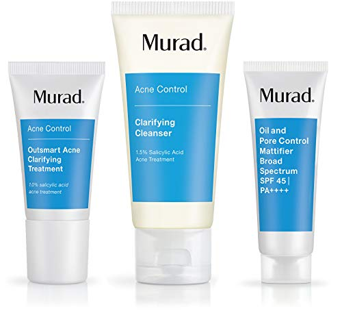 Murad Get Over Zit Kit - Breakout Skin Care Kit with Face Clarifying Cleanser, Breakout Skin Treatment and SPF Facial Mattifier - 3 Trial Size Skin Care Products for Blemish and Breakout Prone Skin