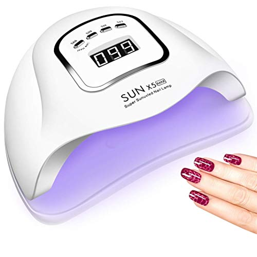 Lampada UV 150W per unghie a LED, luce professionale per smalto per gel per asciuga unghie con 4 impostazioni timer, asciugatrice per gel a LED per gel per smalto con sensore automatico, display LCD