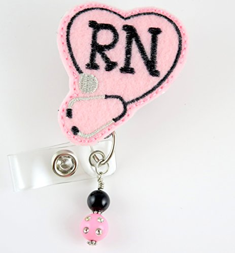 RN Heart Stethoscope Pink with Beads - Nurse Badge Reel - Retractable ID Badge Holder - Nurse Badge - Badge Clip - Badge Reels - Pediatric - RN - Name Badge Holder