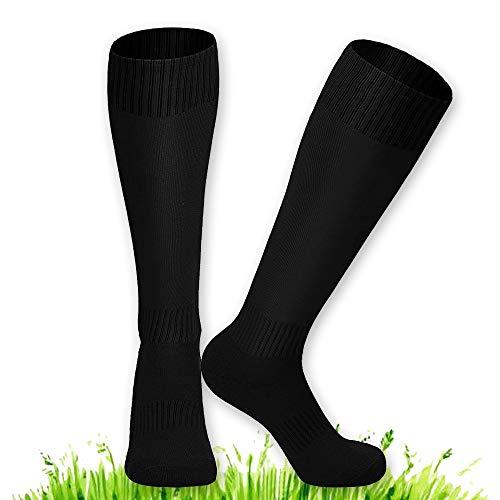 2 Stücke Schwarz Fußball Socken, XCOZU Atmungsaktiv Fußballsocken Kinder Fussballsocken Herren Jugendliche, Fussballsocken Kinder für Fußball, Laufen, Sport, Training, Basketball