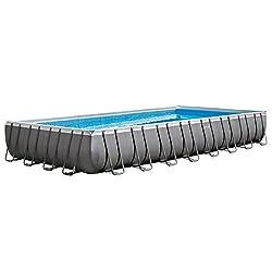 top 10 above ground pools Intex Rectangular Pool 32'x 16′ x 52 inch Ultra Frame, Sand Filter Pump, Ladder, Floor…