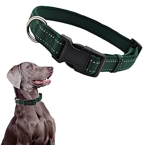 CHMEYUN Collar Ajustable para Perros, Neopreno De Nailon Reflectante, Collar Duradero para Cachorros para Perros Medianos Y Pequeños-Verde
