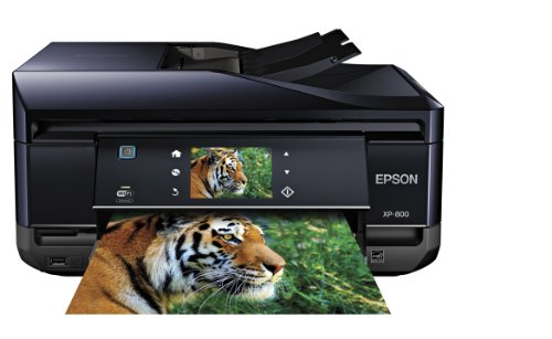 Epson Expression Premium Photo XP-800 Small-in-One Wireless Color Inkjet Printer, Copier, Fax, and Scanner with auto 2 sided scanning, copying, and printing. Prints from Tablet/Smartphone. AirPrint Compatible (C11CC45201)