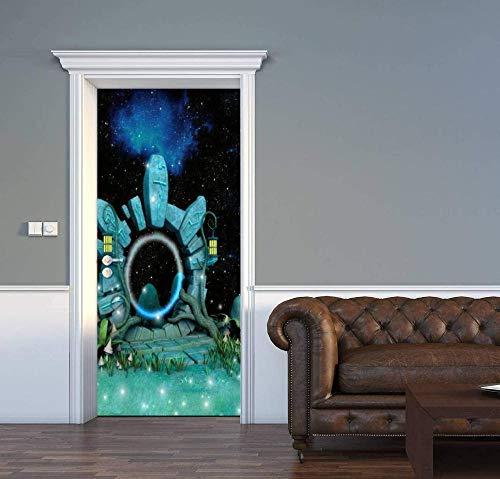 KGKBH Mural de puerta 3D Cielo estrellado, cielo nocturno, ciencia ficción, puerta espacio-tiempo. 77x200cm Impermeable Diy Adhesivo Decorativo De Puerta Autoadhesivo Pegatinas De Pared sala de estar