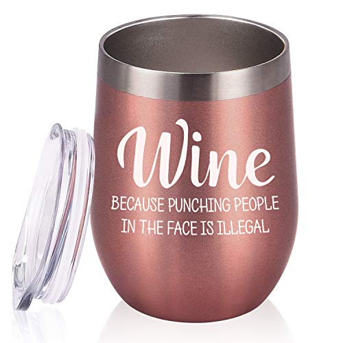 Wine Tumbler - Stainless Steel with Lid and Straw (12 Oz, Rose Gold)