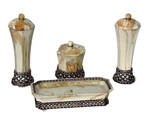 Juego DE TOCADOR - Accesorios auxiliares de Ceramica para el tocador Decorativo Vintage - 4 Piezas- Regalo Barato