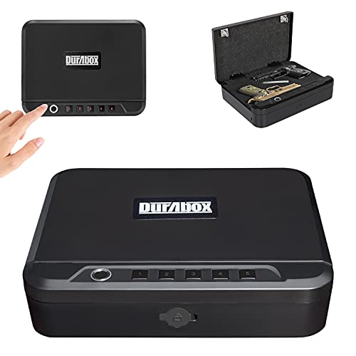 Durabox Quick Access Lock Box Security Safe with Biometric Fingerprint, PIN Keypad & Key for Gun, Pistol, and Other Valuables Portable Travel Storage