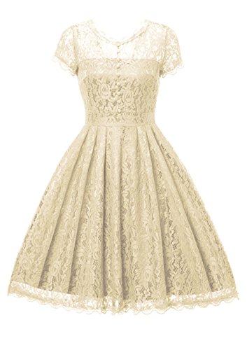 Gigileer Elegant Damen Kleider Spitzenkleid Cocktailkleid Knielanges Vintage 50er Jahr hochzeit Party cremefarben S