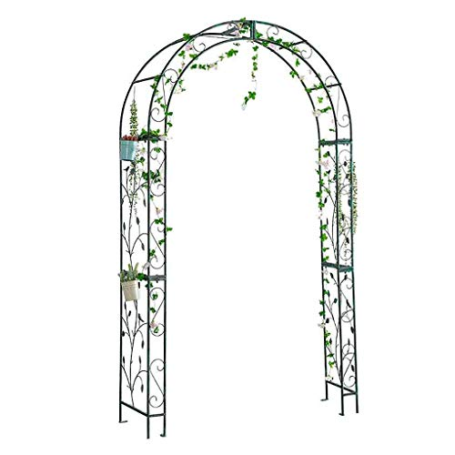RuBao Garden Arch Outdoor Decor,Rose Easy Assembly Trellis Archway,Powder-Coated Steel Support Arch for Climbing Plants, 2.2m Tall, Dark Green