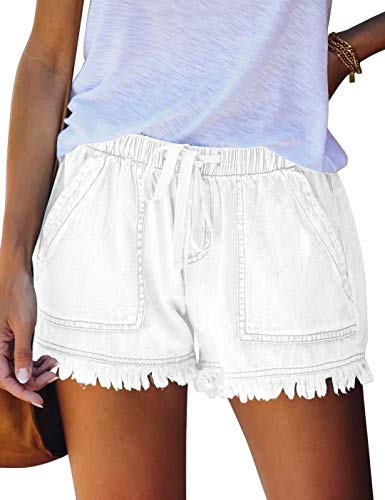 FEKOAFE Womens Casual Drawstring Comfy Elastic Waist Summer Frayed Tencel Shorts with Pockets White M